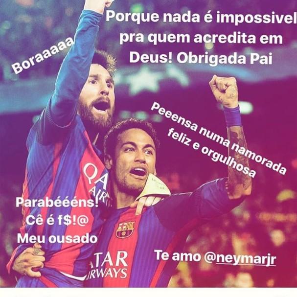 Bruna Marquezine tieta Neymar Jr. (Foto: (Reprodução/Instagram))