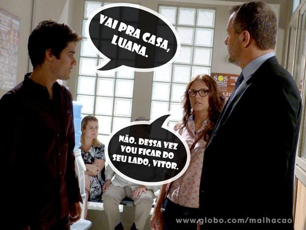 Luana aparece na delegacia para apoiar Vitor (Foto: Malhação / TV Globo)
