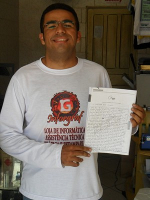 Francisco Elias homenageou o Flamengo e testou avaliadores do Enem (Foto: Francisco Elias/Arquivo pessoal)