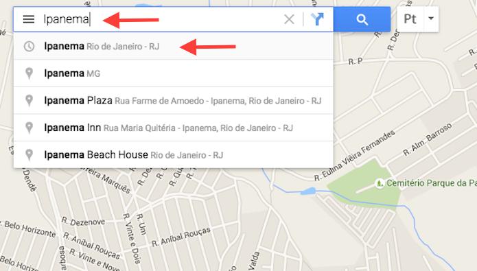 Pesquisando um local no Google Maps (Foto: Reprodução/Marvin Costa)