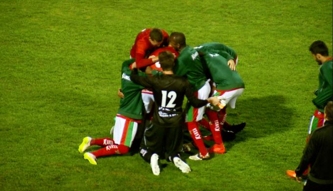 Boa Esporte comemora gol (Foto: Reprodução EPTV)