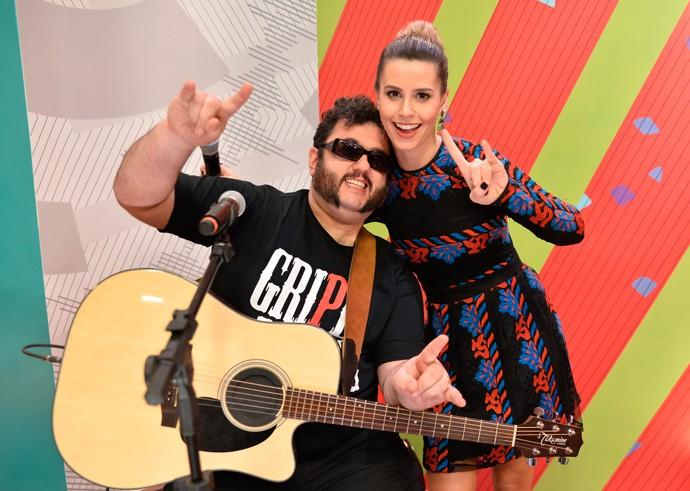 Daiane Fardin e Fábio Elias Estúdio C (Foto: Priscilla Fiedler/RPC)