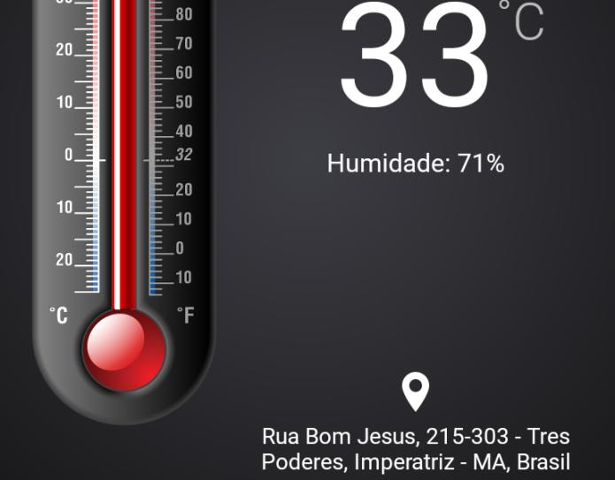 Exibindo a temperatura do local selecionado (Foto: Reprodução/Edivaldo Brito)