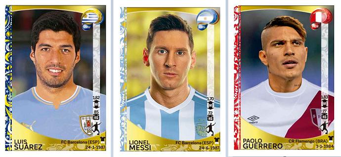 Luis Suárez, Messi e Guerrero (Foto: Divulgação / Panini)