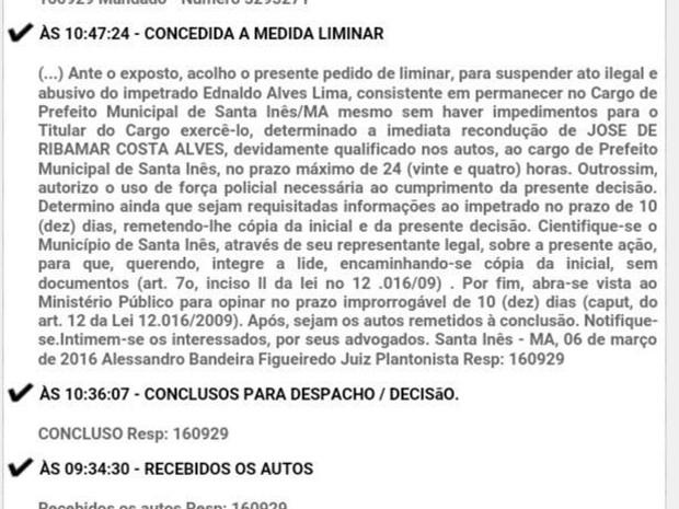 Decisão do TJ foi publicada nesta segunda-feira (7) em Santa Inês (Foto: Divulgação/Tribunal de Justiça)