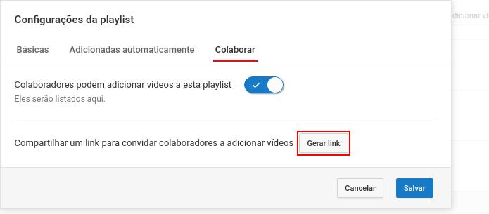 Gerando um para colaboradores adicionarem vídeo na playlist (Foto: Reprodução/Edivaldo Brito)