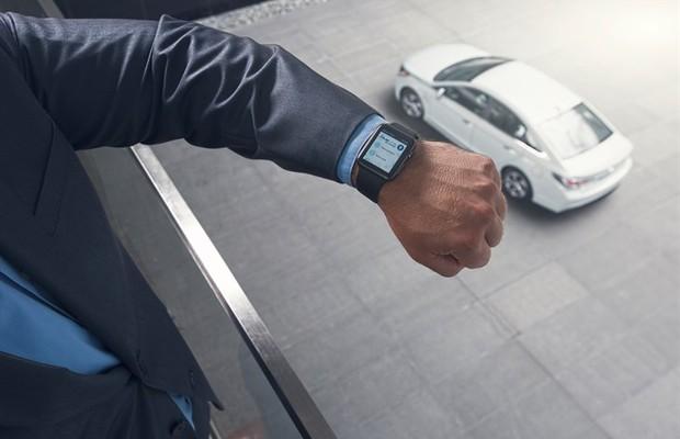O aplicativo Blue Link sincronizado no Apple Watch (Foto: Divulgação)