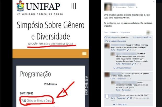 Evento na Unifap foi criticado nas redes sociais por internautas (Foto: Reprodução/Facebook)