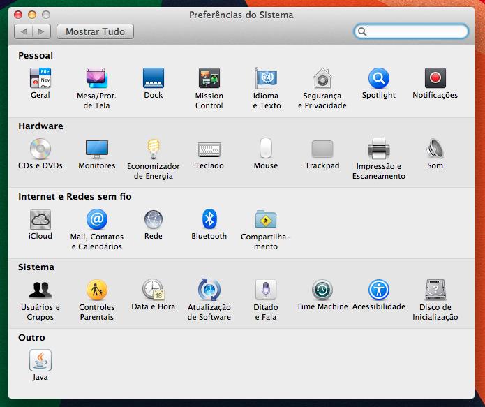 Configurações do Mac OS X (Foto: Reprodução/Helito Bijora) (Foto: Configurações do Mac OS X (Foto: Reprodução/Helito Bijora))