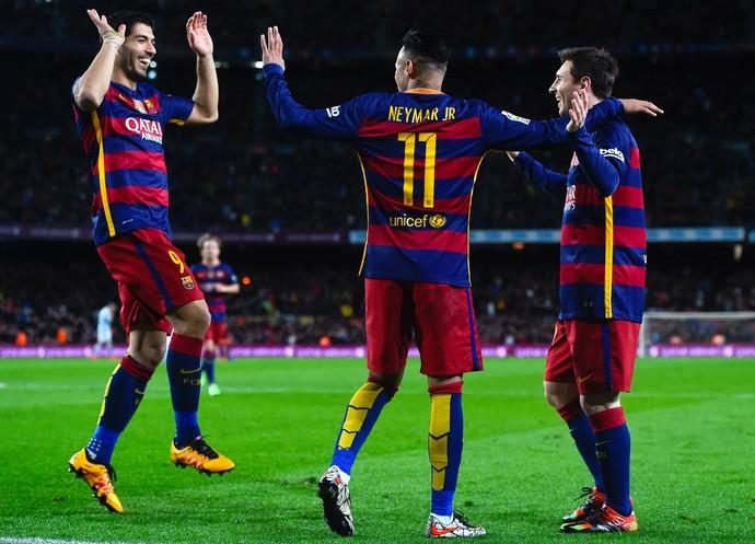 Suárez Messi Neymar Barcelona (Foto: Getty Images)