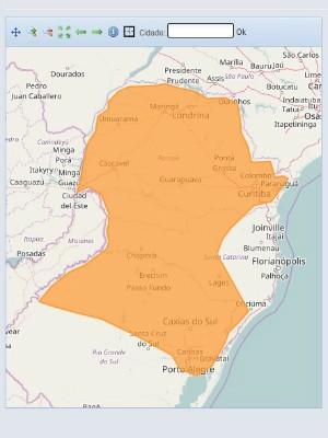 No mapa, é possível ver os locais que devem ser atingidos pela tempestade, segundo o INMET (Foto: Reprodução / INMET)