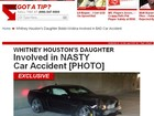 Filha de Whitney Houston se envolve em acidente de carro, diz site