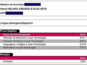 Resultado do candidato Helário Neto, em Pedra Branca; nota mil em redação e sonho em medicina (Foto: Reprodução/Inep)