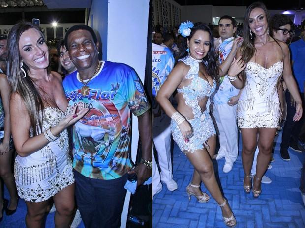 Nicole Bahls posa com Neguinho da Beija-Flor e a rainha de bateria Raissa Oliveira (Foto: Divulgação)