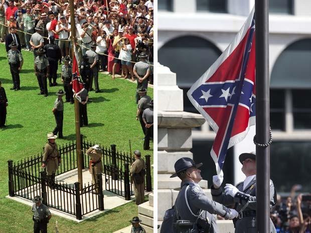 Combinação de fotos mostra à esquerda a bandeira confederada sendo erguida nos jardins do Capitólio da Carolina do Sul, em julho de 2000, e à direita guardas retirando a bandeira nesta sexta-feira (10) (Foto: AP Photo/Paula Illingworth (esq) e John Bazemore (dir))