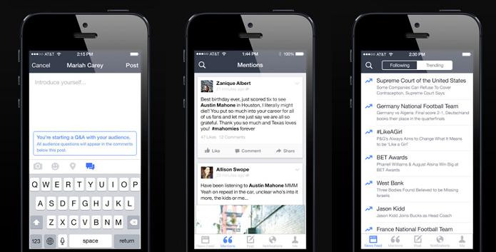 Mentions: o novo aplicativo do Facebook para pessoas públicas (Foto: Divulgação/AppStore)