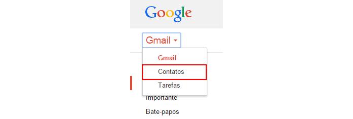 Lista de contatos podem ser acessadas a partir do Gmail (foto: Reprodução/Gmail)