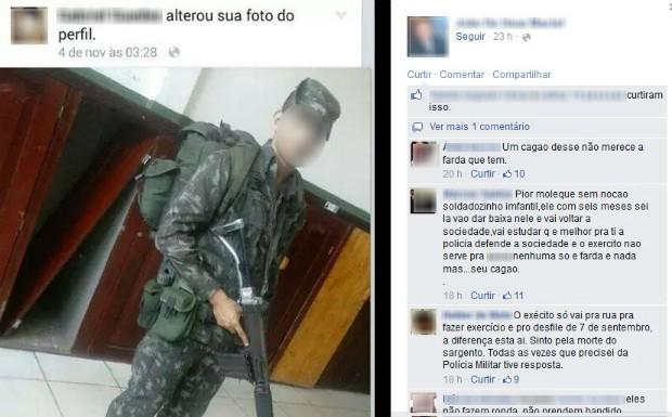Soldado foi criticado nas redes sociais (Foto: Reprodução/Facebook)
