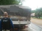PRF apreende caminhão com madeira ilegal na BR-421 em Ariquemes
