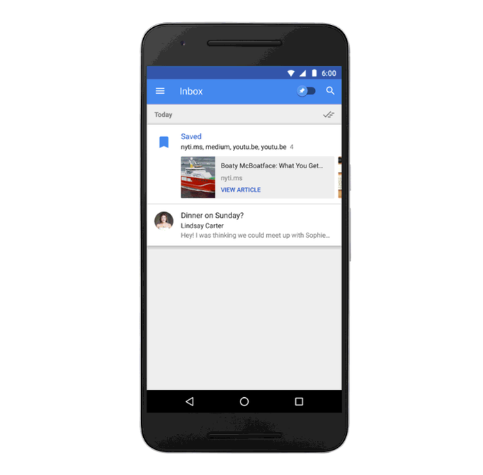 Salve links para ler depois no Inbox do Google (Foto: Divulgação/Google)