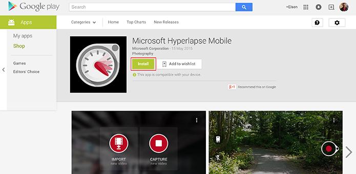 Hyperlapse Mobile pode ser baixado a partir da Play Store no computador (Foto: Reprodução/Elson de Souza)