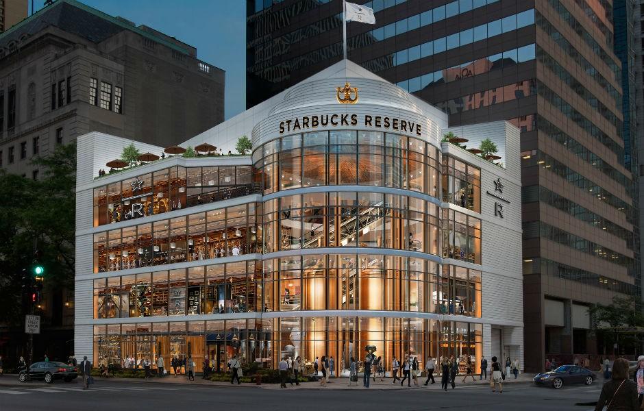 Projeto da Chicago Roastery divulgado pelo Starbucks: empresa começa a colocar o pé no mercado de luxo (Foto: Starbucks)