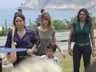Nanda Costa e Carolina Dieckmann gravam 'Salve Jorge' em praia no Rio