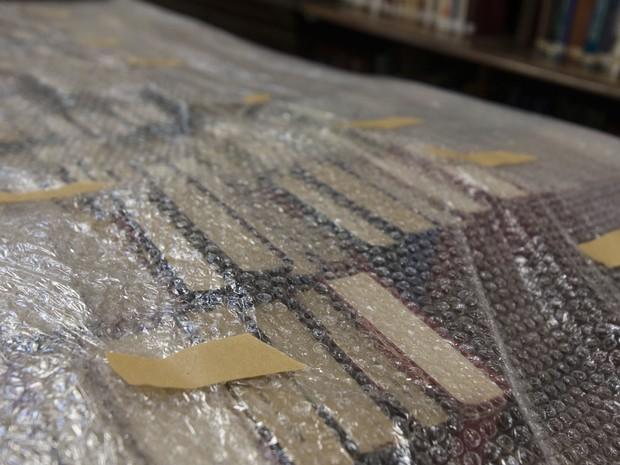 Detalhe dos livros embalados (Foto: Marcelo Brandt/G1)