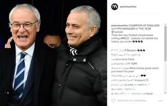 "Após demissão, Mourinho dá apoio a Ranieri: ""Continue sorrindo, amico"""