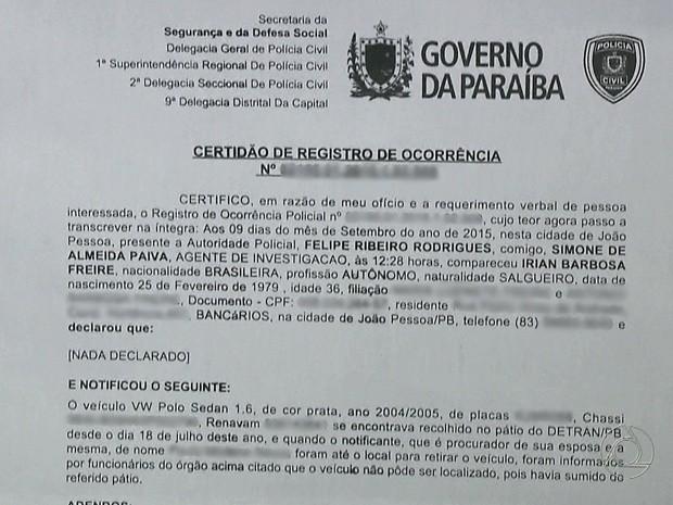 Irian registrou um boletim de ocorrência (Foto: Reprodução/TV Cabo Branco)
