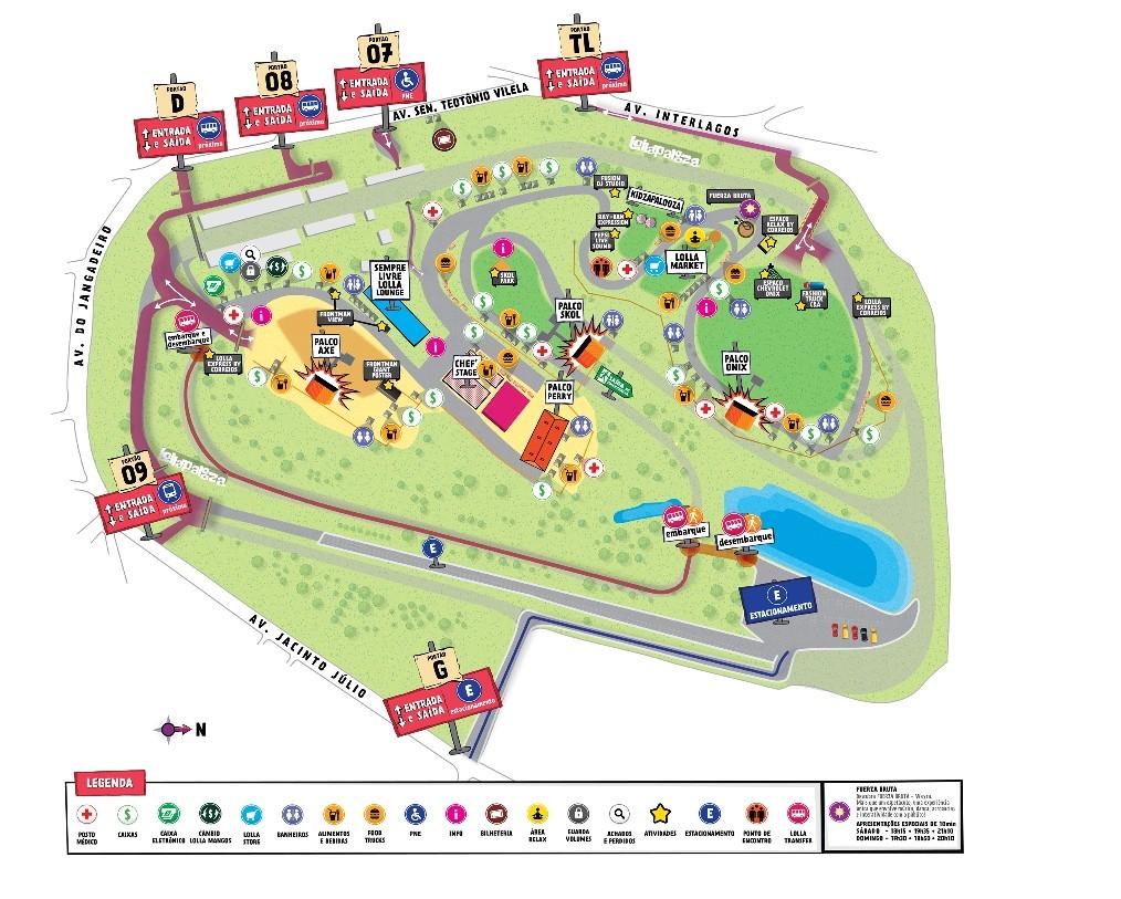 Mapa do Lollapalooza 2016 (Foto: Lollapalooza / Divulgao)