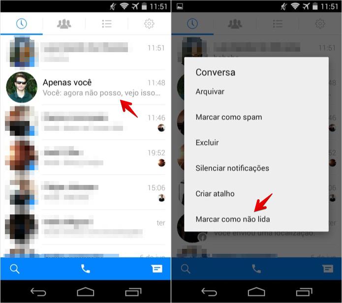 Marcando conversa como não lida no Facebook Messenger para Android (Foto: Reprodução/Helito Bijora)
