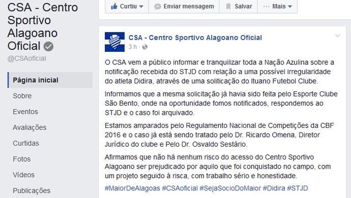 CSA emite nota oficial sobre acusação do Ituano (Foto: Reprodução / Facebook)