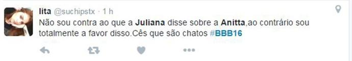 Comentário Anitta BBB16 (Foto: Reprodução Internet)