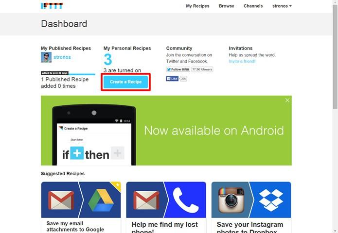 Faça o login no IFTTT e clique no comando em destaque na figura (Foto: Reprodução/Daniel Ribeiro)