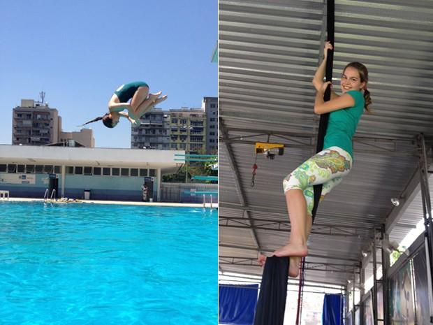 No ar e nas alturas! Bianca Salgueiro já fez saltos ornamentais e aulas de circo para manter a forma (Foto: Arquivo Pessoal)