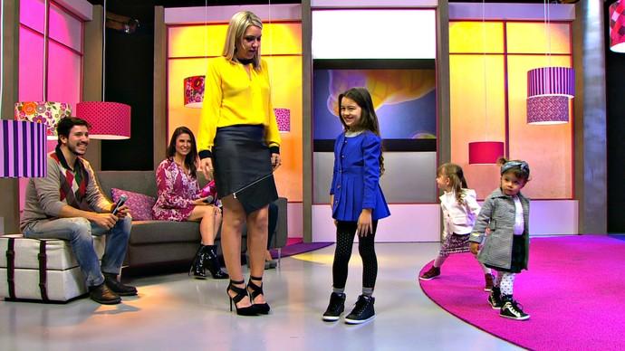 Mistura com Rodaika moda para pequenos looks Márcia Refinsky e filha Joana (7 anos) Educadora física  Fernando Zugno e Luiza Jornalista/produtor cultural  Bianca Abreu e Helena  Dentista (Foto: Reprodução/RBS TV)