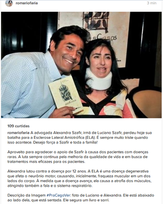 Post de Romário sobre morte de Alexandra Szafir (Foto: Reprodução/Instagram)