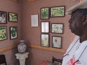 Ivo de Xambá observa imagens de Memorial criado nos fundos de terreiro (Foto: Renan Holanda/ G1)