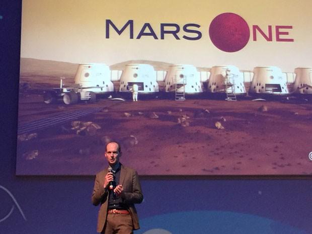 Bas Landscorp, um dos fundadores da Mars One, empresa que quer levar humanos a Marte, fala na Campus Party (Foto: G1)