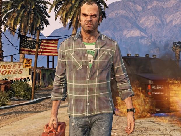 Imagem de Trevor, um dos protagonistas de 'GTA V', na versão do game para PC (Foto: Divulgação/Rockstar)