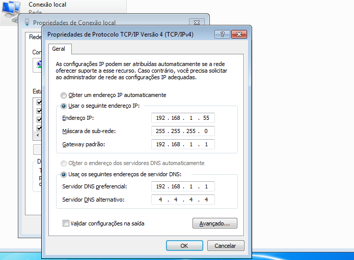Configuração valida com IP fixo (Foto: Reprodução/Edivaldo Brito)