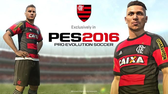 Guerrero ilustra tela inicial do Flamengo no PES 2016 (Foto: Divulgação)