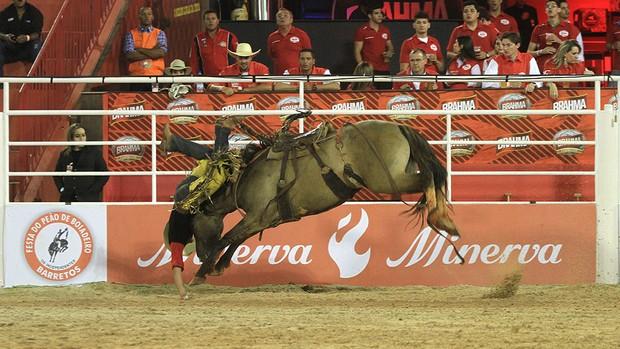 Susto: Patrick Nascimento dos Santos cai, leva pisão de cavalo, mas passa bem (Foto: Alfredo Risk)