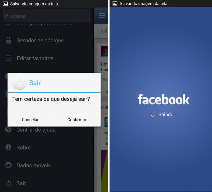 Tela de logout do Facebook para Android (Foto: Aline Jesus/Reprodução)