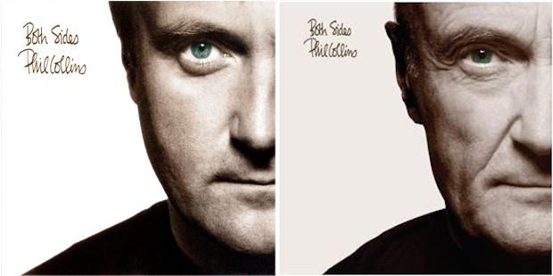 Phil Collins na capa de 'Both sides' (1993) e na edição de relançamento do álbum em 2015 (Foto: Divulgação)