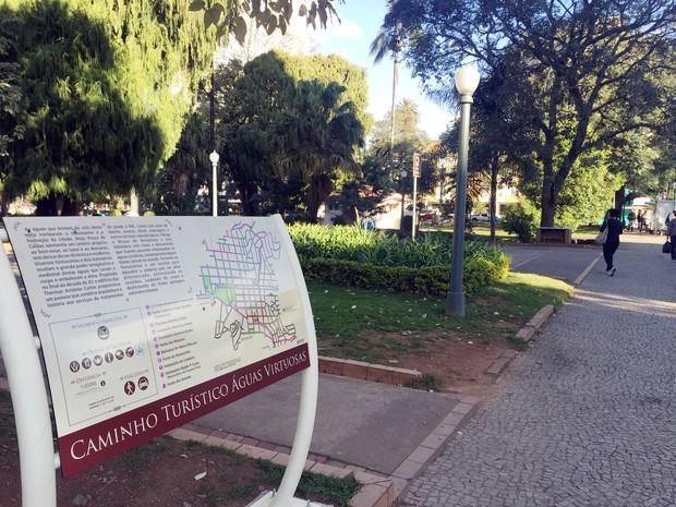 Rota das Águas Virtuosas passa por balneários e fontanários de Poços de Caldas (Foto: Lara Cristina/G1)