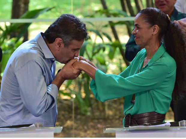 Aécio Neves e Marina Silva juntos em São Paulo (Foto: Nelson Almeida)