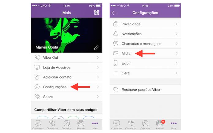 Acessando as configurações de mídia do Viber (Foto: Reprodução/Marvin Costa)
