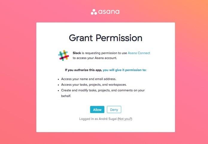 Botão para integração no Slack (Foto: Reprodução/André Sugai)